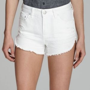 FREE PEOPLE White Denim High Waist Cut-Off Shorts